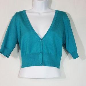 One World Bolero Turquoise Lace Inset Size L  V95